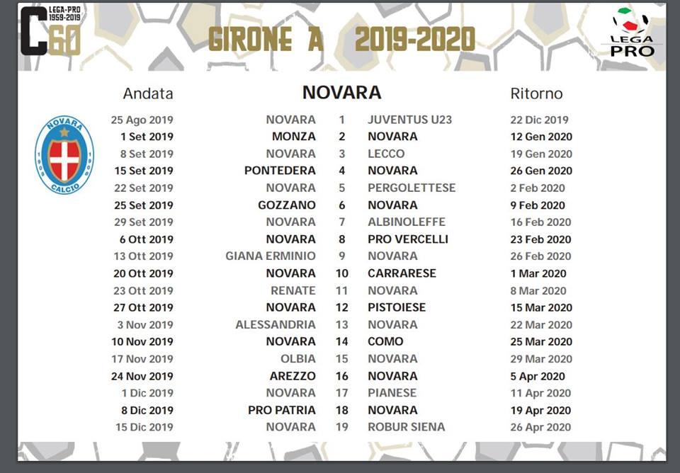 Calendario Arezzo Calcio.Serie C 2019 2020 Il Calendario Del Novara Calcio