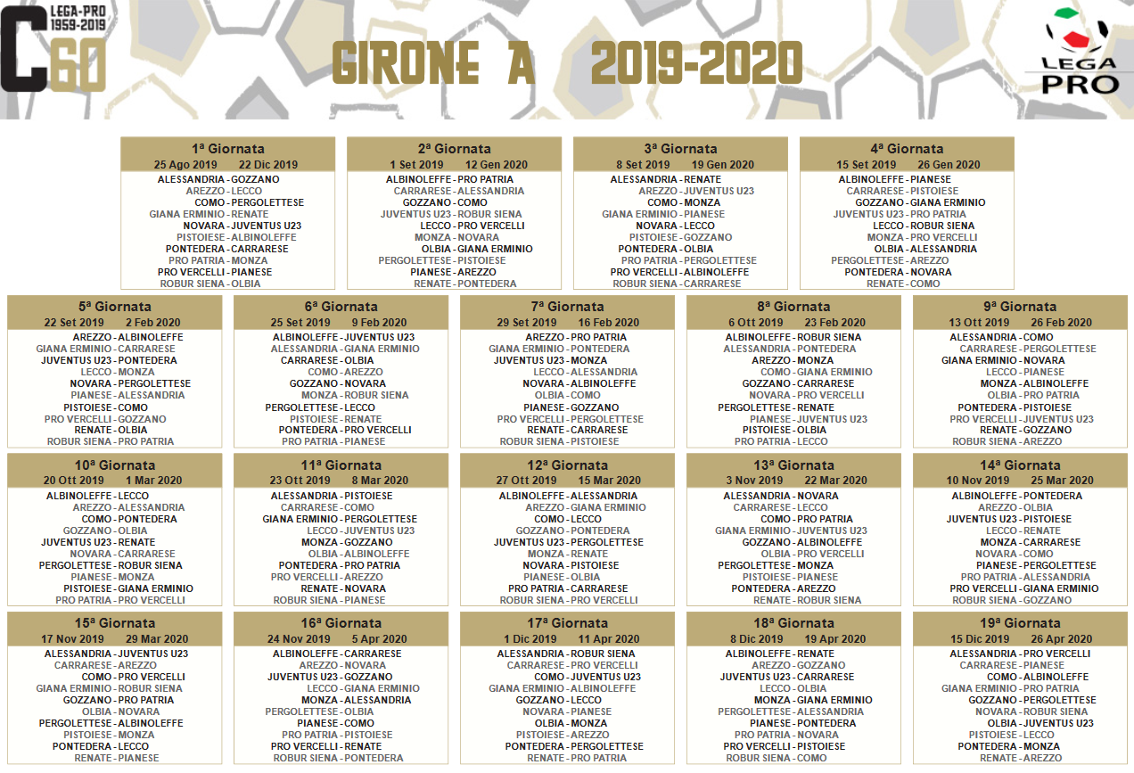 Calendario 2020 Ticino.Serie C 2019 2020 Il Calendario Del Novara Calcio